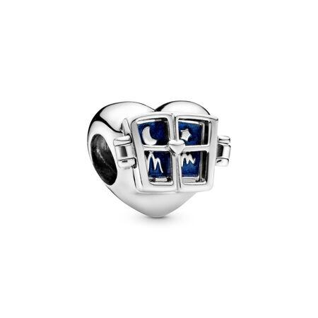 Window Heart Charm, Sterling silver, Enamel, Blue - PANDORA - #798006EN63