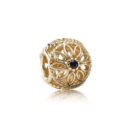 Delicate Beauty Charm, Black Spinel & 14K Gold