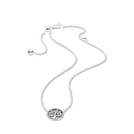 Pandora Tree of Life Necklace, Sterling silver, Silicone, Cubic Zirconia - PANDORA - #397780CZ