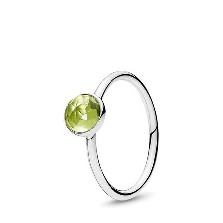 August Droplet Ring, Peridot, Sterling silver, Green, Peridot - PANDORA - #191012PE-56