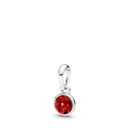July Droplet Pendant, Synthetic Ruby, Sterling silver, Red, Synthetic Ruby - PANDORA - #390396SRU