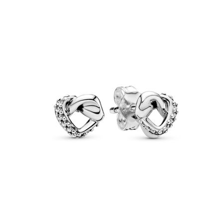 Knotted Heart Stud Earrings, Sterling silver, Cubic Zirconia - PANDORA - #298019CZ