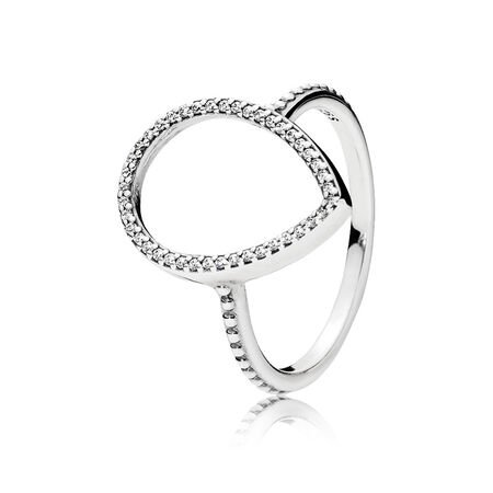 Teardrop Silhouette Ring, Clear CZ