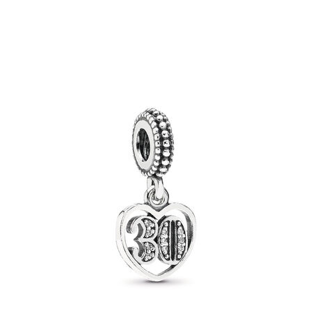 30 Years Of Love Dangle Charm, Clear CZ Sterling silver, Cubic Zirconia