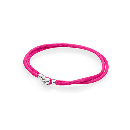 Fabric Cord Bracelet, Hot Pink, Sterling silver, Textile/ synthetical fibers, Pink - PANDORA - #590749CPH-S2