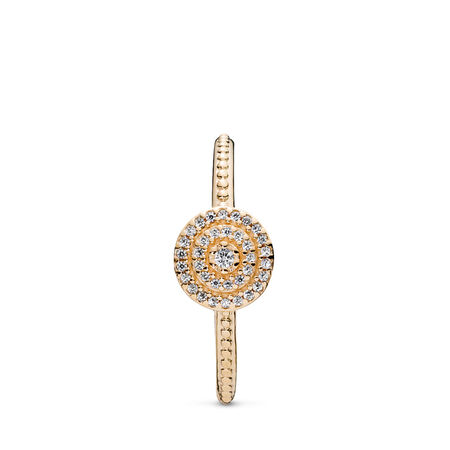 Radiant Elegance Ring, 14K Gold & Clear CZ