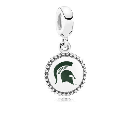 Michigan State University Dangle Charm, Green Enamel