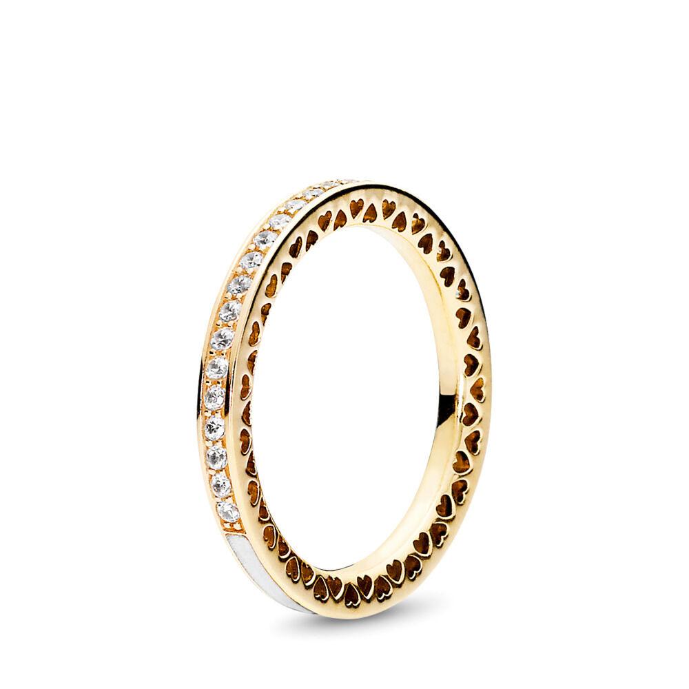 d58a609ab6da5 Radiant Hearts of PANDORA Ring, 14K Gold & Clear CZ
