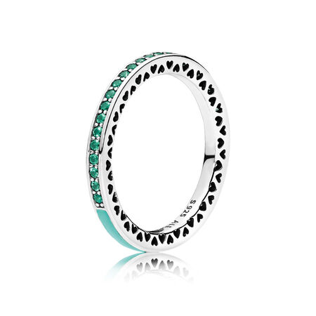Radiant Hearts of PANDORA Ring, Bright Mint Enamel & Royal Green Crystals