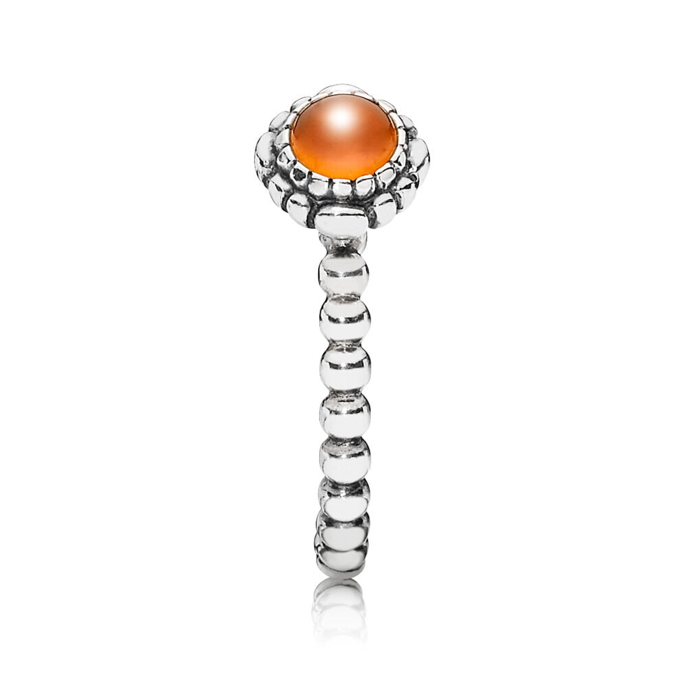 a0a98de24 Birthday Blooms Ring, July, Carnelian, Sterling silver, Orange, Carnelian -  PANDORA