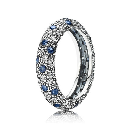 Cosmic Stars Ring, Blue Crystal & CZ, Sterling silver, Beige, Mixed stones - PANDORA - #190915NBC