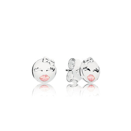 Playful Winks Stud Earrings, Light Pink Enamel