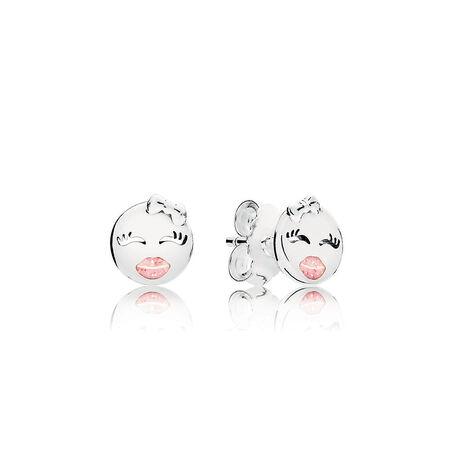 Playful Winks Stud Earrings, Light Pink Enamel Sterling Silver, Enamel, Pink by Pandora