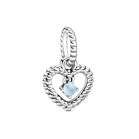 Sky Blue Beaded Heart Dangle Charm