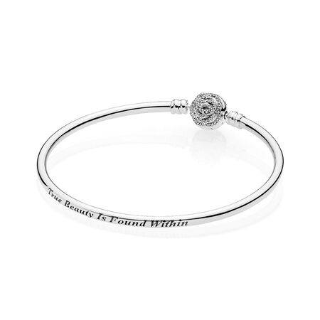 Disney Beauty The Beast Bangle Bracelet Clear Cz