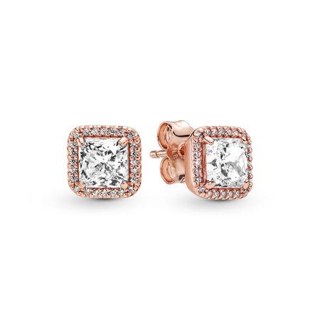 Timeless Elegance Stud Earrings, PANDORA Rose™ & Clear CZ, PANDORA Rose, Cubic Zirconia - PANDORA - #280591CZ