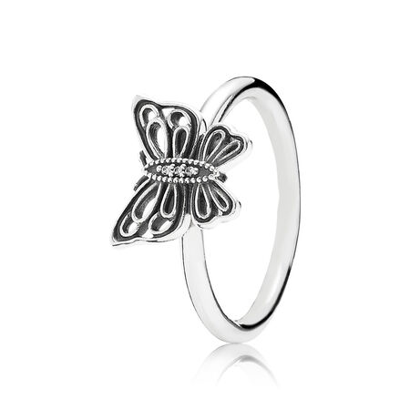 Love Takes Flight Ring, Clear CZ, Sterling silver, Cubic Zirconia - PANDORA - #190901CZ