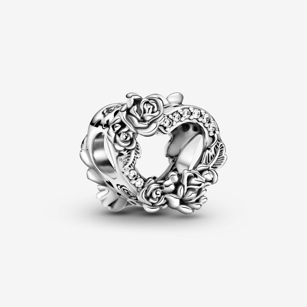 Open Heart & Rose Flowers Charm   Sterling silver   Pandora US