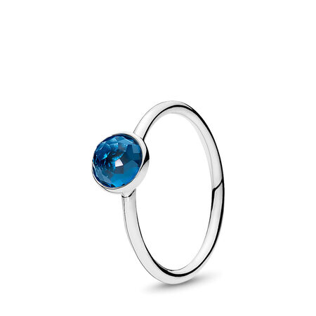 December Droplet Ring, London Blue Crystal, Sterling silver, Blue, Crystal - PANDORA - #191012NLB