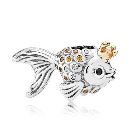 Fairytale Fish Charm, Orange & Gold CZ & Black Crystals