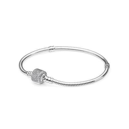 Sterling Silver Bracelet W Signature Clasp Clear Cz