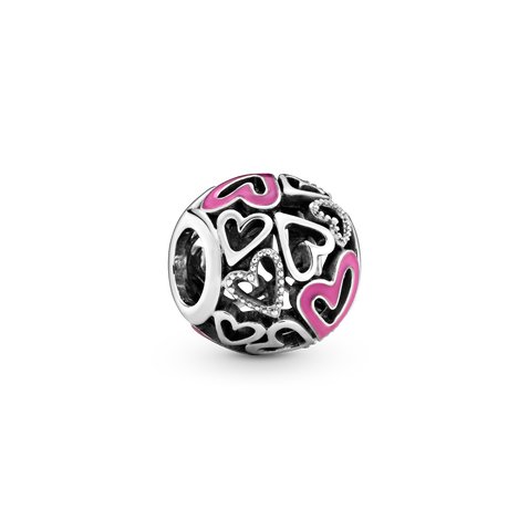 Hearts sterling silver charm with pink enamel