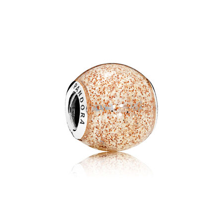 Glitter Ball Charm, Rose Golden Glitter Enamel