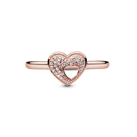 54a7df14e Shimmering Puzzle Heart Frame Ring, PANDORA Rose™ ...