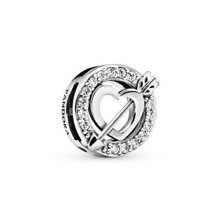 PANDORA Reflexions™ Asymmetric Heart & Arrow Charm, Clear CZ, Sterling silver, Silicone, Cubic Zirconia - PANDORA - #797793CZ