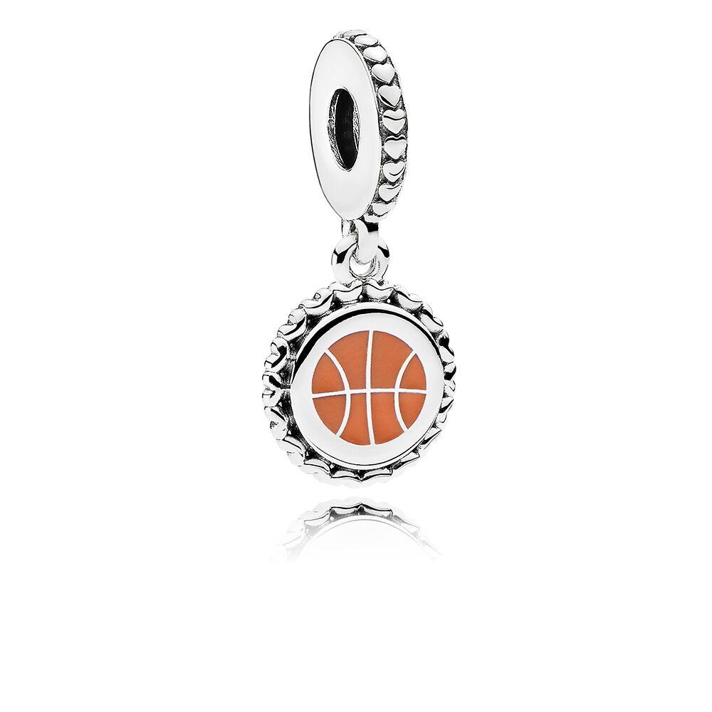 Basketball Charm Bracelet: Basketball Dangle Charm, Mixed Enamel