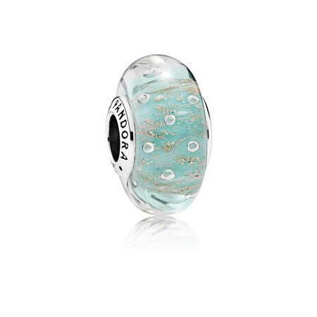 Mint Glitter Charm, Murano Glass