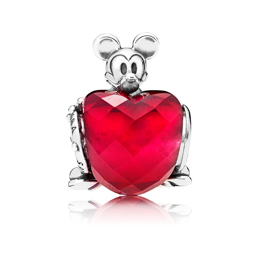 Disney Mickey Love Heart Charm Fuchsia Rose Crystal