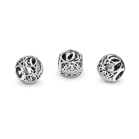 Vintage G, Clear CZ, Sterling silver, Cubic Zirconia - PANDORA - #791851CZ
