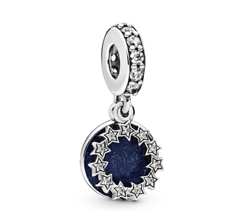Sterling silver dangle with clear cubic zirconia and shimmering blue enamel