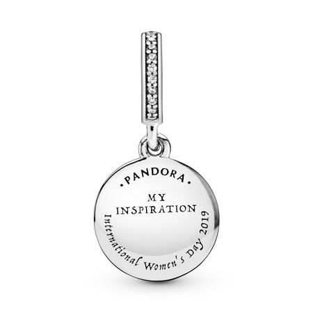 International Women's Day Dangle Charm, Clear CZ & Mixed Enamel