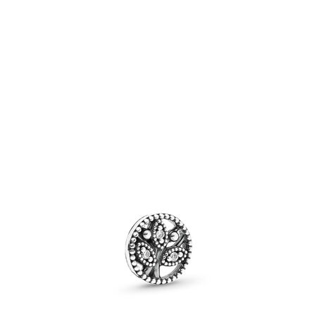 Family Heritage Petite Locket Charm, Sterling silver, Cubic Zirconia - PANDORA - #792165CZ