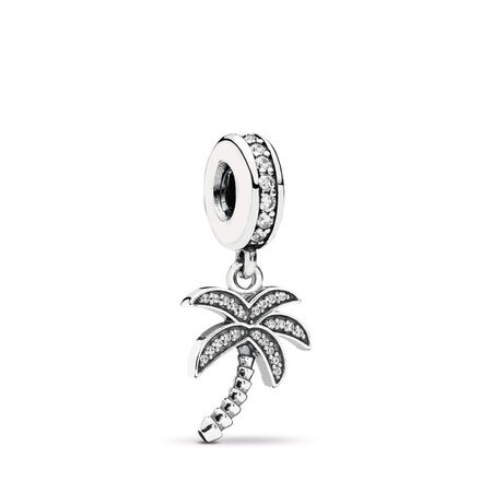 8c974e644 Sparkling Palm Tree Dangle Charm, Clear CZ