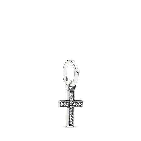 Symbol Of Faith Cross Dangle Charm, Clear CZ, Sterling silver, Cubic Zirconia - PANDORA - #791310CZ