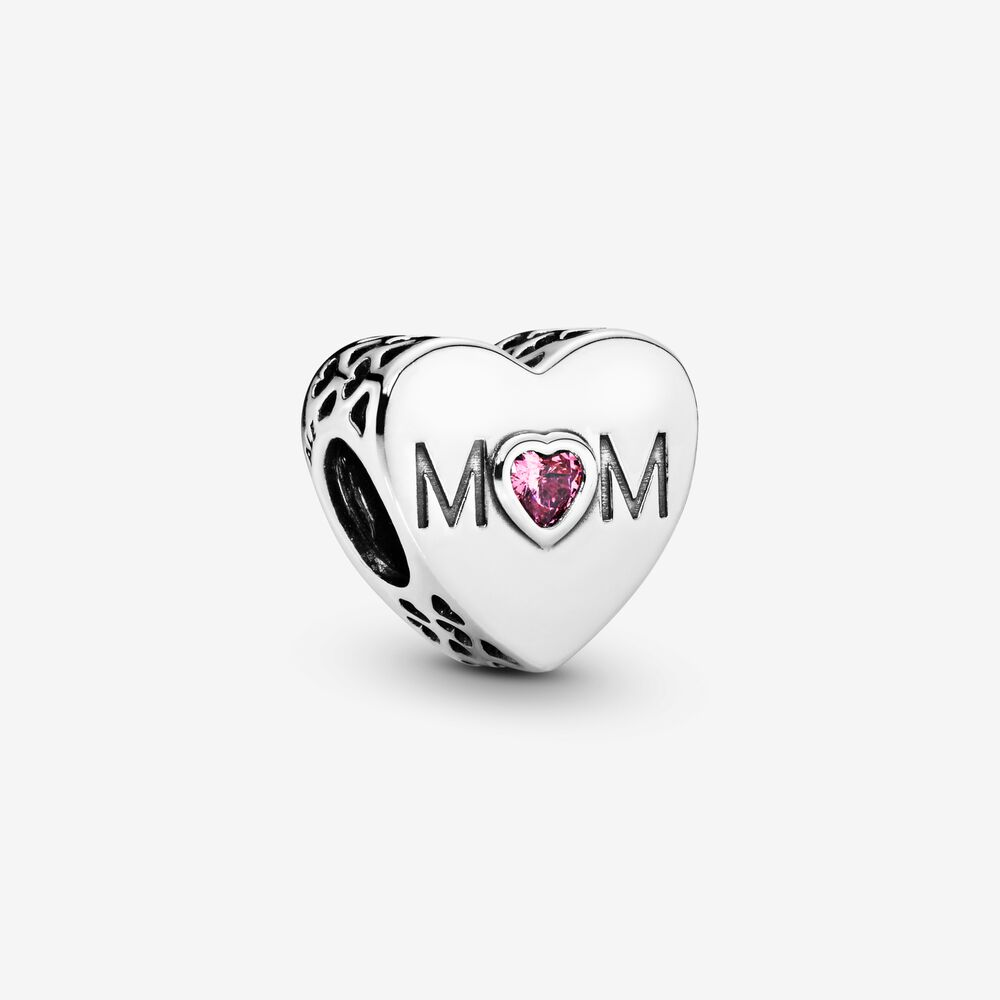 Pink Mom Heart Charm   Sterling silver   Pandora US