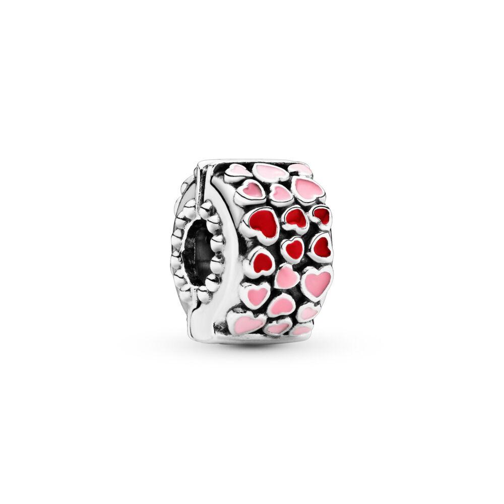 Clip On Bracelet Charm Silver Tone Pink Enamel Bag Charm Charms & Charm Bracelets
