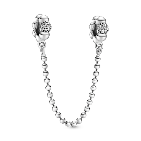 Beads and Pavé Safety Chain Charm