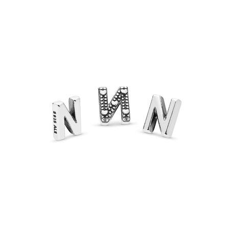 Letter N Petite Locket Charm, Sterling silver - PANDORA - #797332