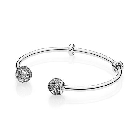 Open Bangle Bracelet, Clear CZ
