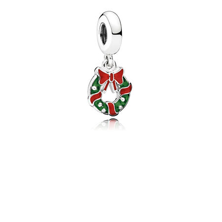 Holiday Wreath Dangle Charm, Berry Red & Green Enamel