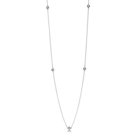 Dazzling Dainty Droplets Necklace, Clear CZ