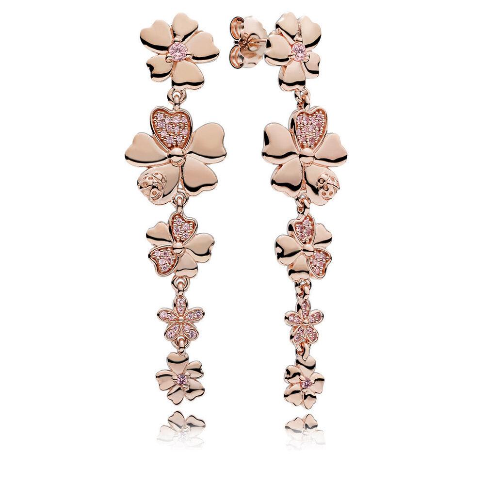 Wildflower Meadow Drop Earrings Pandora Rose Blush Pink Crystals