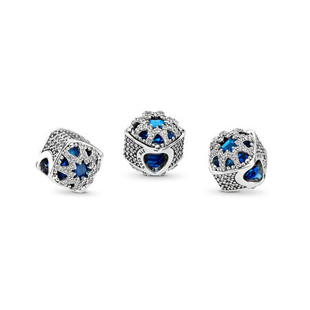 Glacial Beauty Charm, Swiss Blue Crystals & Clear CZ