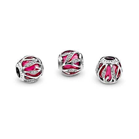 Nature's Radiance Charm, Synthetic Ruby & Clear CZ