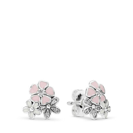 Poetic Blooms Stud Earrings, Mixed Enamels & Clear CZ