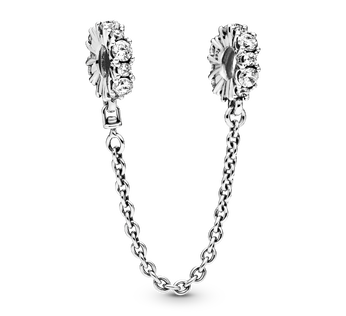 Sterling silver safety chain with clear cubic zirconia
